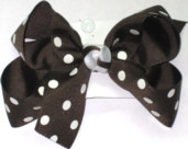 Medium Brown with White Dots and Brown and White Knot Polka Dot Bow