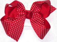 Medium Red with White Microdots Polka Dot Bow