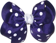 Medium Regal Purple with White Dots and White Knot Polka Dot Bow