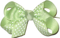 Small Lime with White Small Dots Polka Dot Bow