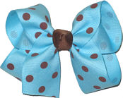 Medium Mystic Blue with Brown Dots Polka Dot Bow