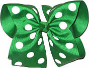 MEGA Extra Large Emerald Green with White Dots Polka Dot Bow