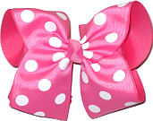 MEGA Extra Large Pink with White Dots Polka Dot Bow