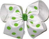 MEGA Extra Large White with Apple Green Dots Polka Dot Bow