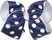 MEGA Extra Large Navy and White with White Dots Polka Dot Bow