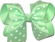 Large Large Mint with White Dots Polka Dot Bow