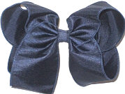 Large Navy Dupioni Silk with Monofilament Edges Bow
