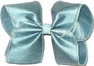 Large Sea Foam Dupioni Silk Ribbon Starched to Hold Its Shape Bow