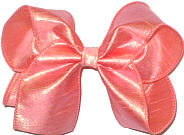 Large Peach Dupioni Silk Bow. Ribbon is starched to help keep the bow's shape.