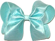 Large Aqua Dupioni Silk Bow. Ribbon is starched to help keep the bow's shape.