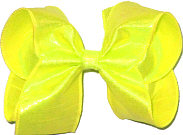 Large Neon Yellow Dupioni Silk Bow. Ribbon is starched to help keep the bow's shape.