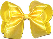 Large Yellow Dupioni Silk Bow. Ribbon is starched to help keep the bow's shape.