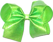Large Neon Green Dupioni Silk Bow. Ribbon is starched to help keep the bow's shape.