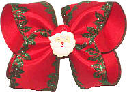 Large Red Satin with Glitter Holly Edging over Red with Santa Face Miniature Double Layer Overlay Bow