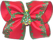 Large Red Satin with Emerald Glitter Holly Edging over Red with Christmas Tree Miniature Double Layer Overlay Bow