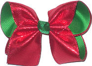 Large Metallic Sharkskin Red over Emerald Green Double Layer Overlay Bow