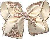 Large Copper Glitter Dot Christmas Trees over Light Ivory Double Layer Overlay Bow