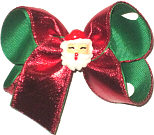 Large Red Metallic over Emerald Green with Satan Face Miniature Double Layer Overlay Bow
