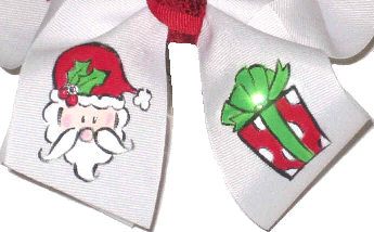 Large Large Hand Painted Santa with Present Christmas Bow Bottom Loops
