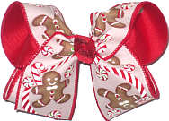 Large Gingerbread Men and Candy Canes Canvas over Red Double Layer Overlay Bow