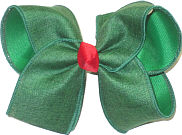 Large Green Canvas over Emerald Green with Red Knot Double Layer Overlay Bow