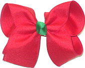 Large Red Canvas over Red with Emerald Green Knot Double Layer Overlay Bow