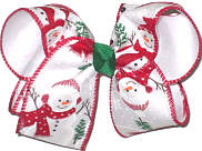 Large Snowmen over White Double Layer Overlay Bow
