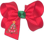 Medium Monogrammed Christmas Tree on Red with Emerald Knot Bow