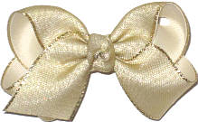 Toddler Metallic Gold Mesh over Light Ivory Double Layer Overlay Bow