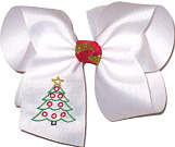 Large Monogrammed Christmas Tree on White with Red and Gold Knot Double Layer Overlay Bow