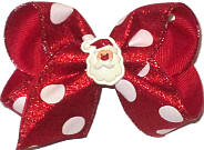 Toddler Red Metallic Sparkle with White Dots and Santa Miniature over Red Double Layer Overlay Bow