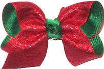 Toddler Red Metalltic Sparkle over Emerald Double Layer Overlay Bow
