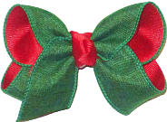 Toddler Green Canvas over Red with Red Knot Double Layer Overlay Bow