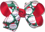Medium Santa Faces on Emerald over Red Double Layer Overlay Bow