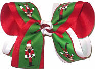 Large Nutcrackers on Emerald over Red and White Double Layer Overlay Bow