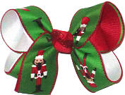 Medium Nutcrackers on Emerald over Red and White Double Layer Overlay Bow