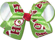 Large Shimmering Red Ho Ho Ho on Shimmering Green over White Double Layer Overlay Bow