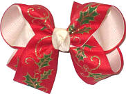 Medium Christmas Holly with Gold Stems on Red over Light Ivory Double Layer Overlay Bow