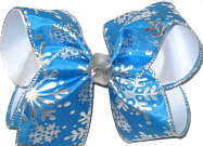 Large Silver Snow Flakes on Blue Satin over White with Silver Knot Double Layer Overlay Bow