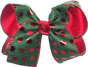 Large Forest Green with Red Metallic Dots over Red Double Layer Overlay Bow