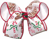 Large Christmas Candy and Gingerbread Men over White Double Layer Overlay Bow
