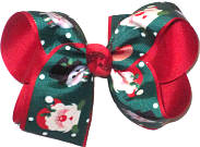 Large Santa and Frosty the Snowman on Forest Green over Red Double Layer Overlay Bow