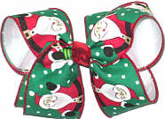 Large Santa on Emerald Green over White Double Layer Overlay Bow