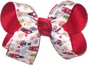 Medium Nutcracker and Clara over Red Double Layer Overlay Bow