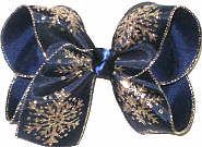 Large Platinum Snow Flakes on Navy Double Layer Overlay Bow