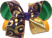 Large Metallic Gold Swirl on Purple over Green and Yellow Gold Double Layer Overlay Bow