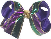 Medium Purple and Green Metallic with Gold Trim over Purple Double Layer Overlay Bow