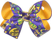 Medium Mardi Gras Masks and Crowns on Purple over Yellow Gold Double Layer Overlay Bow