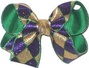 Medium Purple and Gold Metallic Sparkle with Green Trim Jester Print over Emerald Green Double Layer Overlay Bow