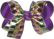 Medium Metallic Purple Green and Gold Squares over Purple Double Layer Overlay Bow